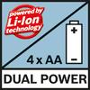 Dual Power Возможна работа с аккумулятором 10,8 V-LI и со стандартными щелочными батареями
