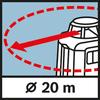 Рабочий диапазон по горизонтали Рабочий диапазон Ø 20 м