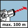 Arbeitsbereich 100 m Reichweite bis zu max. 100 m