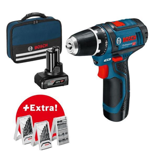 Professional set: accuschroefboormachine GSR 12V-15 + 1 x 2,0 Ah + 1 x 4,0 Ah accu + 39-delige accessoireset in gereedschapstas