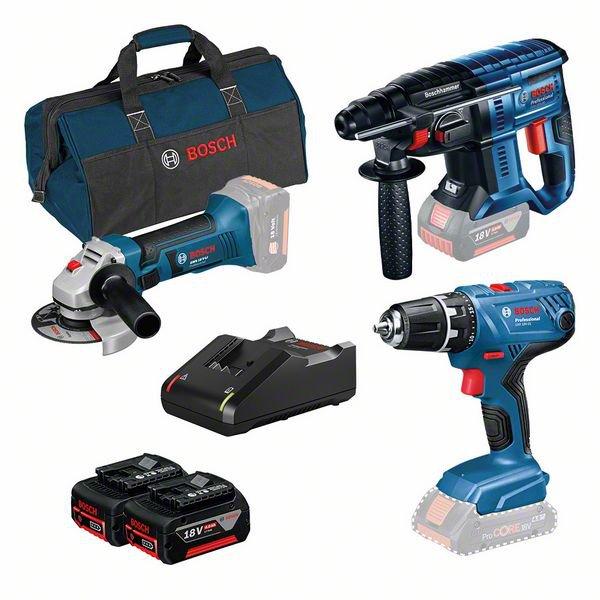 Sats med 3 verktyg: GSR 18V-21 + GBH 18V-20 + GWS 18-125 V-LI + 2 x GBA 4.0Ah + GAL 18V-40 + verktygsväska