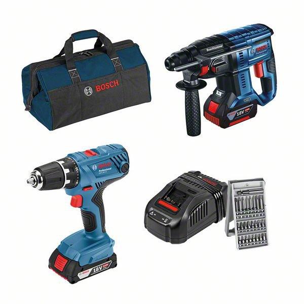Kit de 18V: GSR 18V-21 + GBH 18V-21 + (GBA 1 x 2,0 Ah + 1 x 4,0 Ah) + GAL 1880 CV + conjunto de acessórios + saco para ferramentas