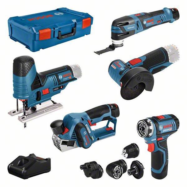 5 machine set 12V: GSR (FC) + GOP + GHO + GWS + GST + GBA (2x 2,0 Ah + 1x 3,0 Ah) + GAL + XL-BOXX