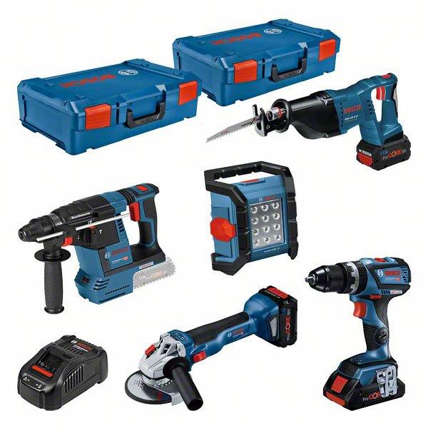 5 machine set 18V: GSB + GWS + GBH + GSA + GLI + 3 x ProCORE18V (1 x 4,0 Ah + 2 x 8,0 Ah) + GAL