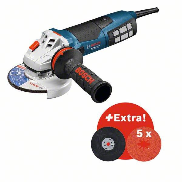 Værktøjssæt: GWS 19-125 CIE + robust og fleksibelt kabel + 5 x X-LOCK-fiberskive + bagskive