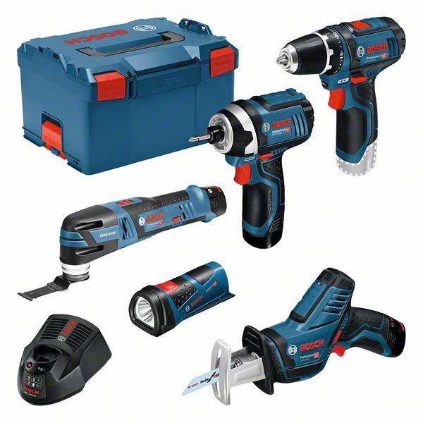 Set para profesionales: GSA + GSR + GOP + GDR + GLI de 12V a batería + 3 baterías de 2,0 Ah en L-BOXX