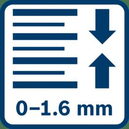 Syvyyden hienosäätö 0-1,6 mm (GHO 18V-LI 0,25 mm askelin; GHO 16-82 0,1 mm askelin)