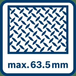 Capacité de sciage maxi dans le métal 63,5 mm