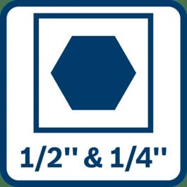 """2-in-1 bithouder – voor nog meer toepassingen een combinatie van 1/2"""" vierkant en 1/4"""" zeskant"""