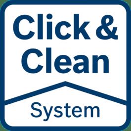 Click & Clean System – 3 große Vorteile Freie Sicht auf die Arbeitsfläche: Sie können genauer und schneller arbeiten Sofortige Beseitigung von störendem Staub: Gut für Ihre Gesundheit Weniger Staub: Längere Lebensdauer von Werkzeug und Zubehör