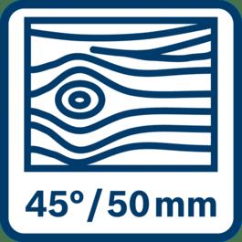 Zagen in hout tot 50 mm bij 45°