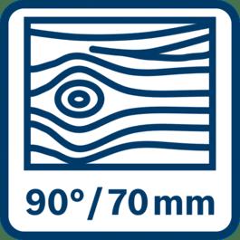 Saging i tre inntil 70 mm ved 90°