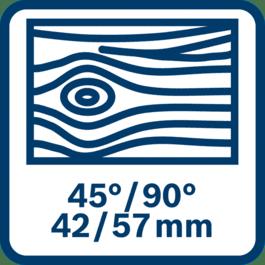 Sågning i trä upp till 42/57 mm vid 45/90°