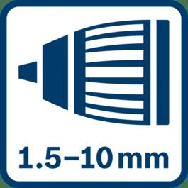 Chuck med automatisk låsing 1,5–10,0 mm