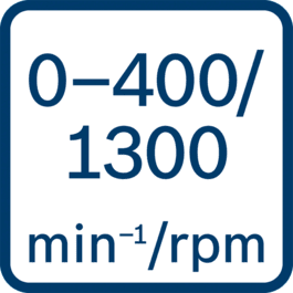 Onbelast toerental 0 - 400/0 - 1300 o.p.m.