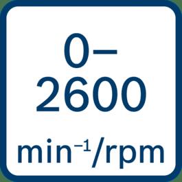 Leerlaufdrehzahl 0 – 2600 min-1/U/min