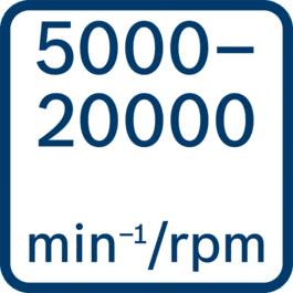 Leerlaufdrehzahl 5000 – 20000 min-1/U/min