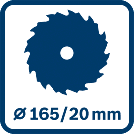 Sahanterän ja reiän halkaisija 165/20 mm