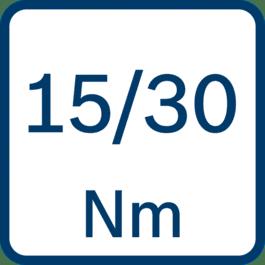 Draaimoment hard/zacht 15/30 Nm