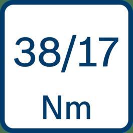 Dreiemoment hard/myk skruing 38/17 Nm