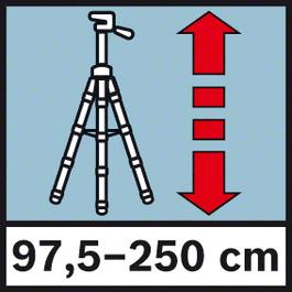 Darba augstums 97,5-250 cm Darba augstums no 97,5 līdz 250 cm