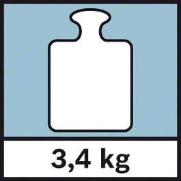 Maksimālais svars Maksimālais svars 3,4 kg.
