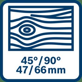 Sahaus puuhun, maks. 47/66 mm, kulma 45/90°