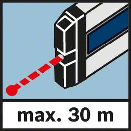 Messbereich Laser max. 30 m Messbereich maximal 30m