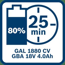 Μπαταρία 4,0 Ah φορτισμένη 80 % μετά 25 λεπτά με GAL 1880 CV