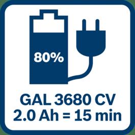 2,0 Ah-batteri 80 % ladet etter 15 minutter med GAL 3680 CV
