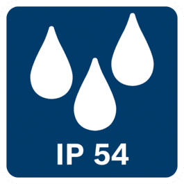 IP54 klasės atsparumas dulkėms ir vandens tiškalams