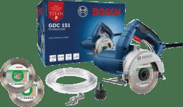 Serra Mármore a úmido Bosch GDC 151 TITAN 1500W 127V, com Kit de refrigeração e 2 Discos Professional