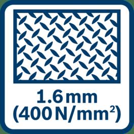Capacité de coupe dans l'acier (400 N/mm²) : jusqu'à 1,6 mm
