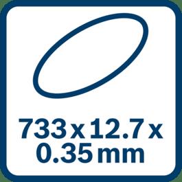Dimensions de la bande abrasive : 733 x 12,7 x 0,35 mm