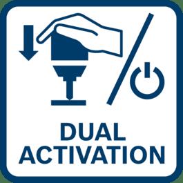 """Mod activare dublă – pur şi simplu împinge înainte maşina/scula electrică pe suprafaţă sau apasă butonul/comutatorul de """"pornire"""" pentru a începe"""