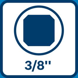 Antgalio įdėklas, antgalių laikiklis, 3/8 colio, išorinis stačiakampis