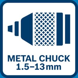 Mandrin automatique en métal avec plage de serrage de 1,5 à 13 mm