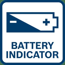 Batteriindikatorn visar batteriets laddningsnivå