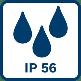 Beskyttet mod støv og kraftige vandsprøjt iht. IP56