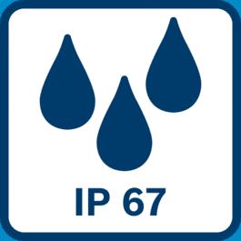 Aizsardzības klase IP67 - putekļnecaurlaidīgs un aizsargāts pret iegremdēšanu ūdenī līdz 1 m dziļumam