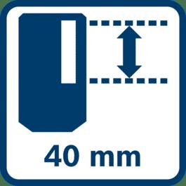 Área de recepción de 40mm