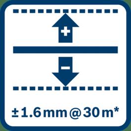 Niveliavimo tikslumas ± 1,6 mm 30 m* atstumu (* plius nuo naudojimo priklausomas nuokrypis)