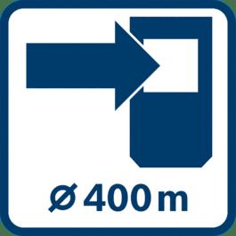Arbejdsområde med modtager op til 400 m (diameter)