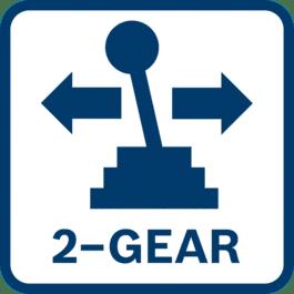 Optimierte(s) Drehmoment zum Schraubendrehen und Drehzahl zum Bohren dank eines 2-Gang-Planetengetriebes