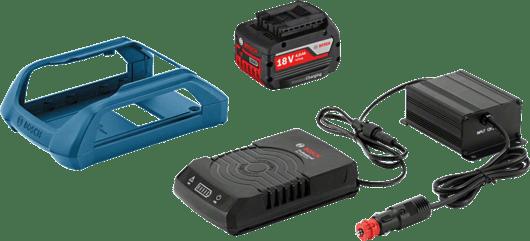 в картонена кутия с 1 x 4,0 Ah литиево-йонна безжично зареждаща се акумулаторна батерия, монтажна рамка за зарядно устройство