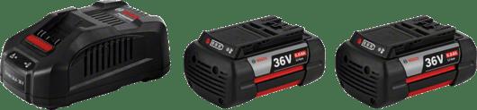 2 x GBA 36V 6,0 Ah v začetnem kompletu + GAL 3680 CV Professional