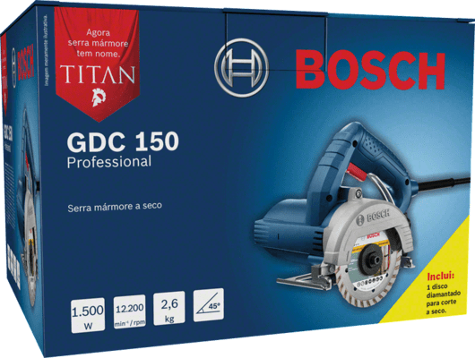 Serra Mármore Bosch a seco GDC 150 TITAN 1500W 220V Professional
