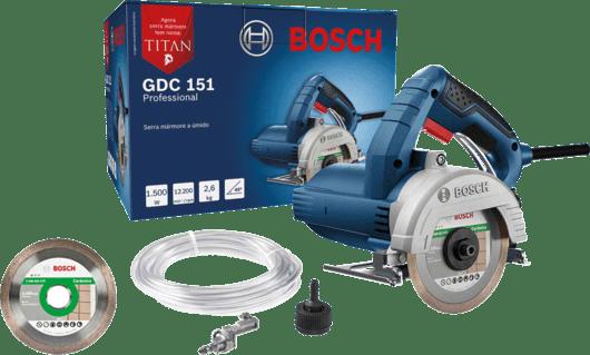 Serra Mármore a úmido Bosch GDC 151 TITAN 1500W 220V, com Kit de refrigeração, 1 Discos em Maleta plástica Professional