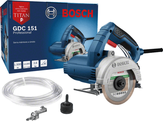 Serra Mármore a úmido Bosch GDC 151 TITAN 1500W 127V, com Kit de refrigeração Professional