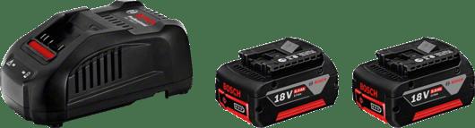 in cardboard box with 2 x 5.0 Ah Li-ion battery